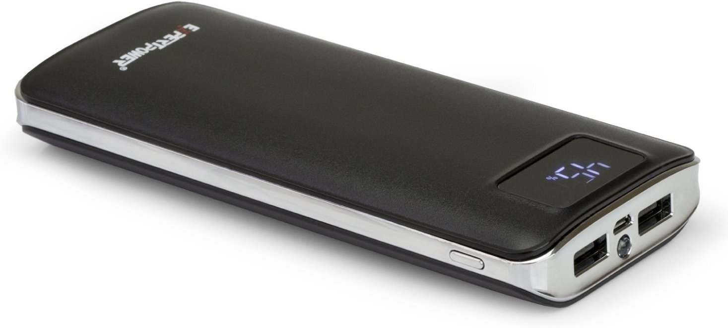 20000mAh Ultra High Capacity Smart Digital Screen External Battery Power Bank dual USB Ports for Smartphone & Tablet