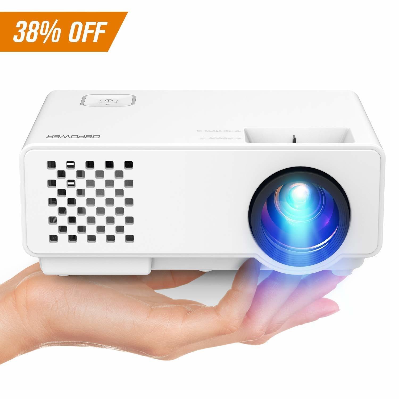 Projector 1,800 LUMENS, Upgraded DBPOWER Mini Video Projector, Multimedia Home Theater Video Projector Supporting 1080P, HDMI, USB, VGA, AV Home Cinema, TVs, Laptops, Games, Smartphones - LIKE NEW