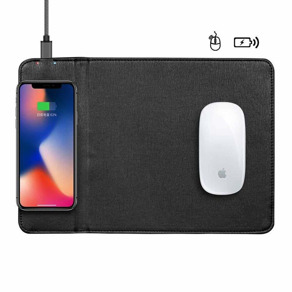 MKK QI Wireless charger Mouse Pad Mat Charger, QI Mouse Pad/Mat Wireless Charger for iPhone X iPhone 8/8 Plus Samsung Note 8/S8/S7/S6/Edge (Black)