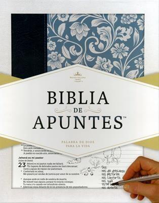 BIBLIA DE APUNTES RVR60/AZUL Y FLORAL/PIEL