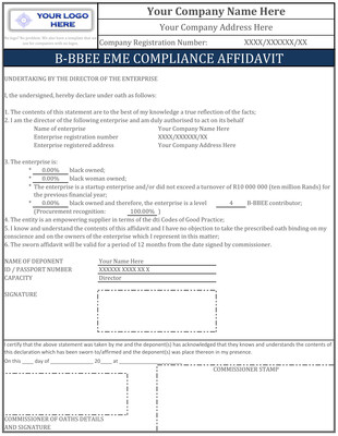 Professionally Customized B-BBEE EME Compliance Affidavit Delivered Within 1 Business Hour