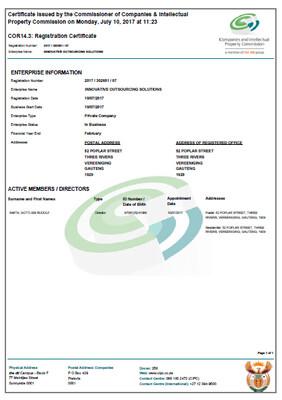 CIPC Company Registration (Pty) Ltd