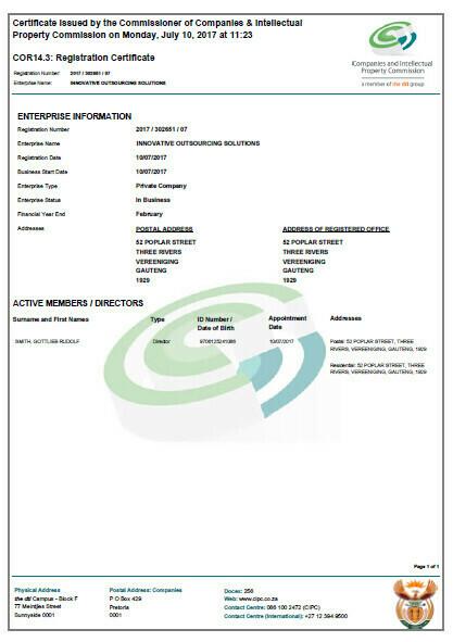 CIPC Company Registration Documents Retrieval