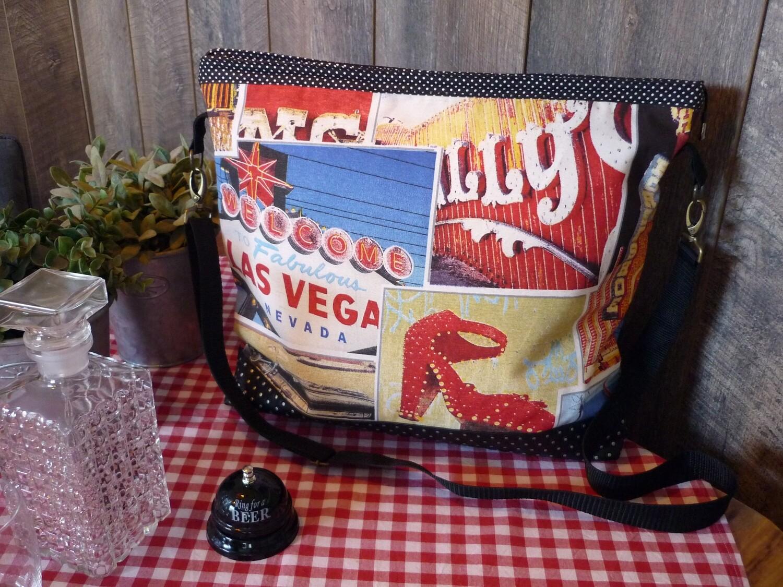 Shopper Las Vegas Große Umhängetasche mit Reissverschluß
