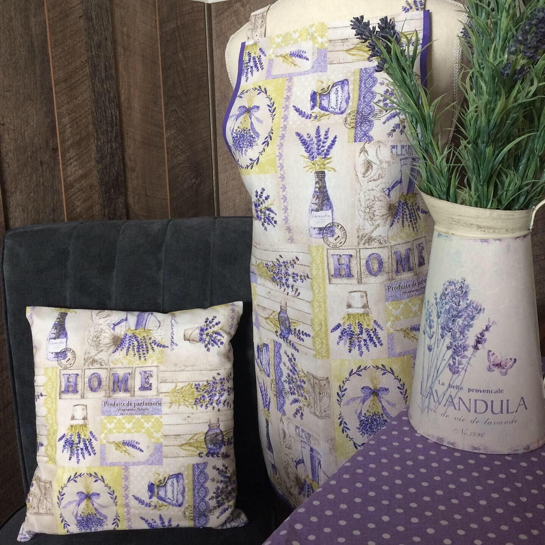 Lavender Love - Lavendelliebe - 1 Kissen + 1 Schürze