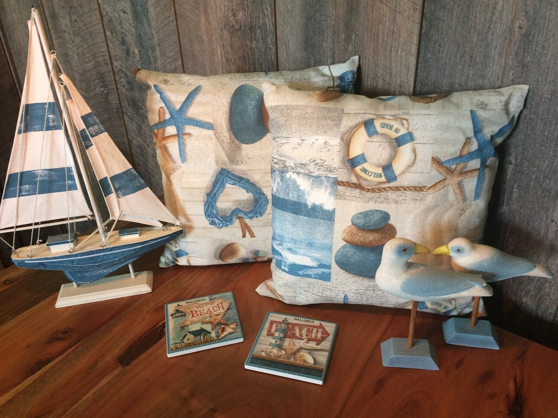 2 Kissen Strandliebe + Wäschebeutel für Weltenbummler