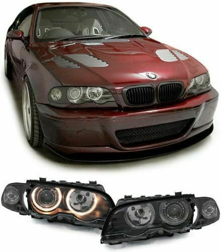 Front Smoke headlights Angel Eyes for BMW E46 99-03 Series 3 Coupe Cabrio