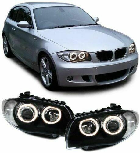 Front Dark headlights Angel Eyes for BMW E81 E82 E87 E88 04-11 SERIE 1
