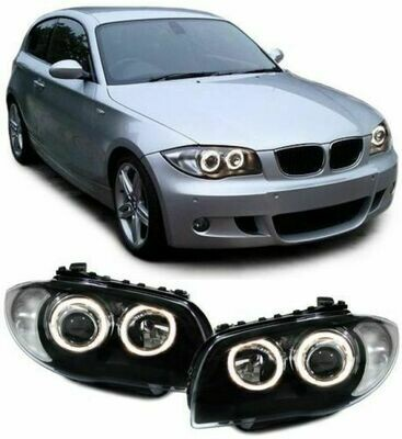 Front Dark headlights Angel Eyes for BMW E81 E82 E87 E88 04-11 SERIE 1