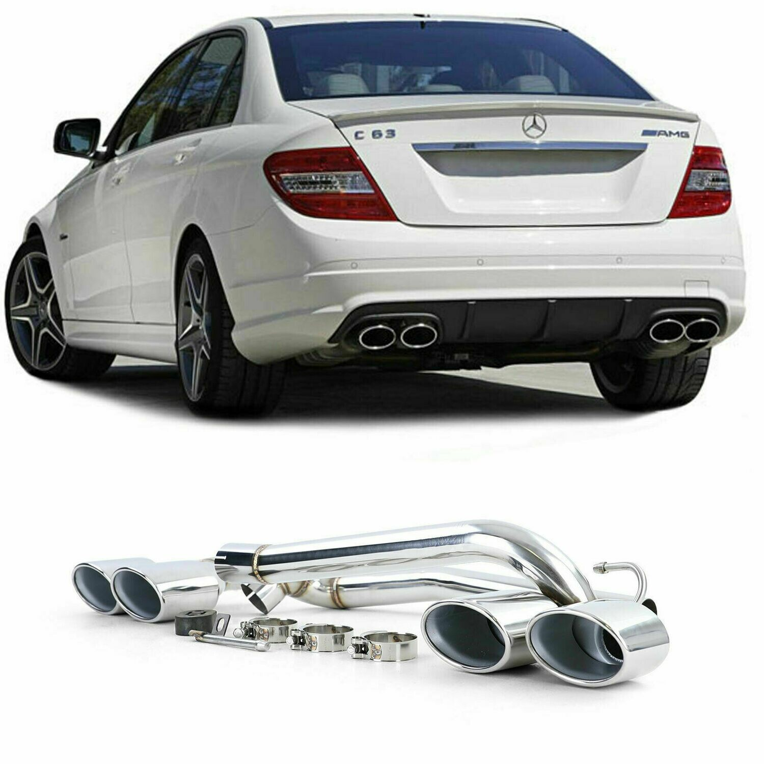 Rear Exhaust Pipes for MERCEDES W204 07-14 C-CLASS