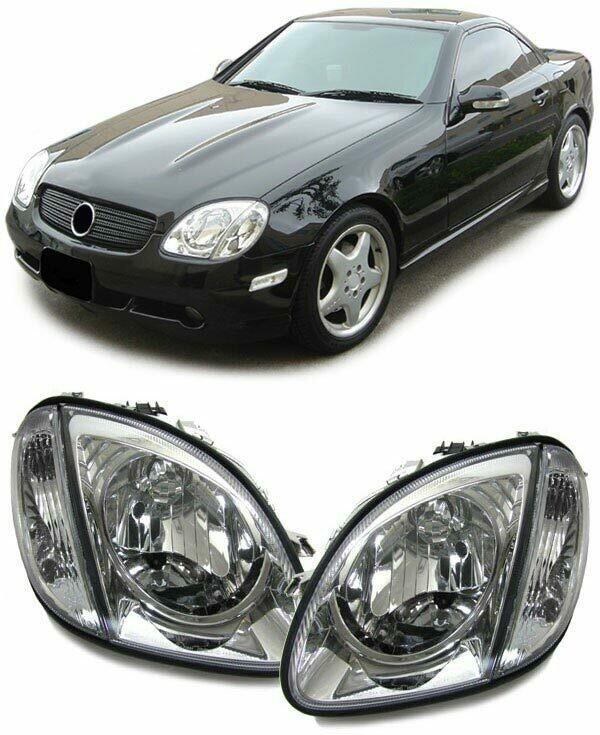 Front CHROME Headlights for MERCEDES SLK R170 96-04 NEW