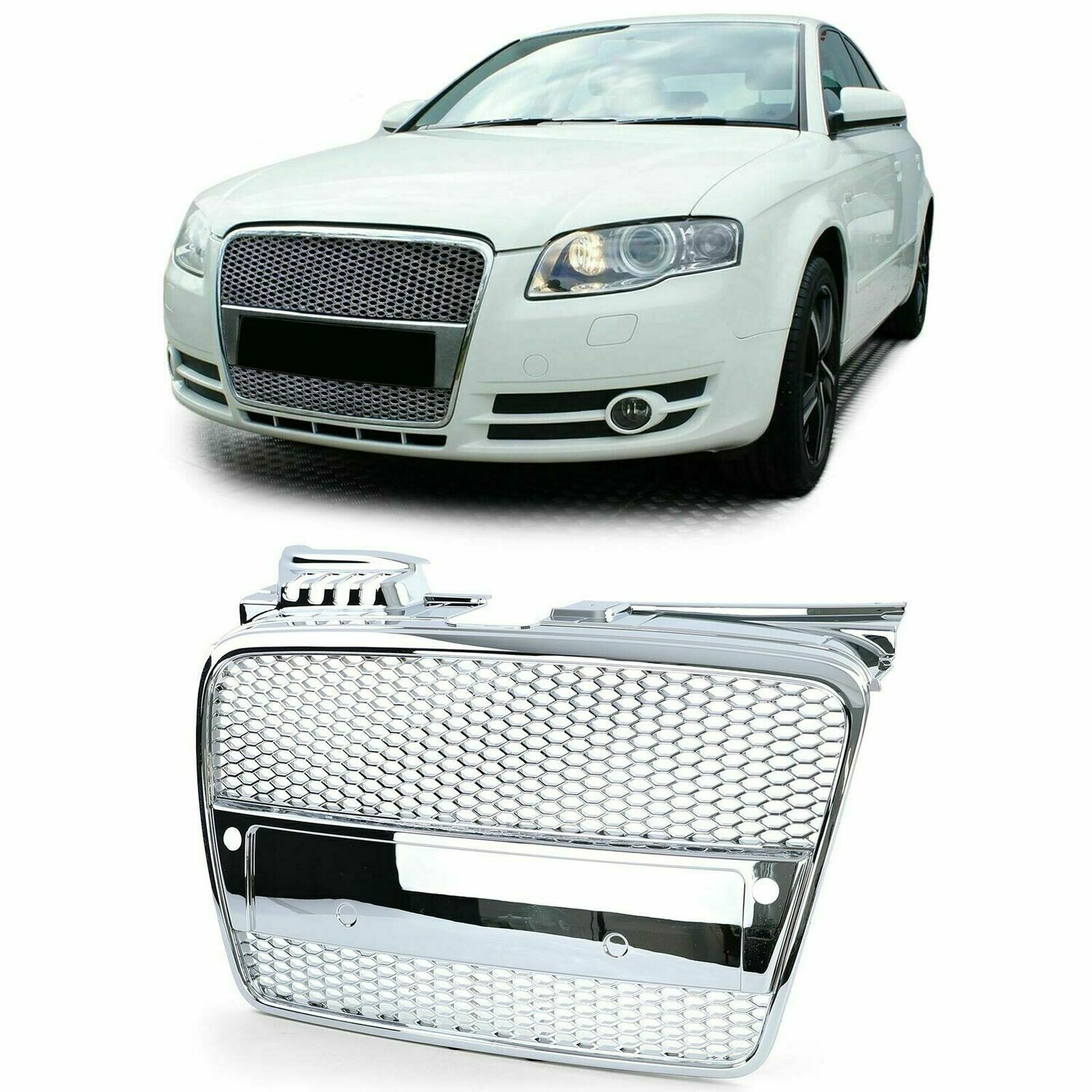 Sport Grill CHROME PDC for AUDI A4 B7 04-07 + CABRIO NEW