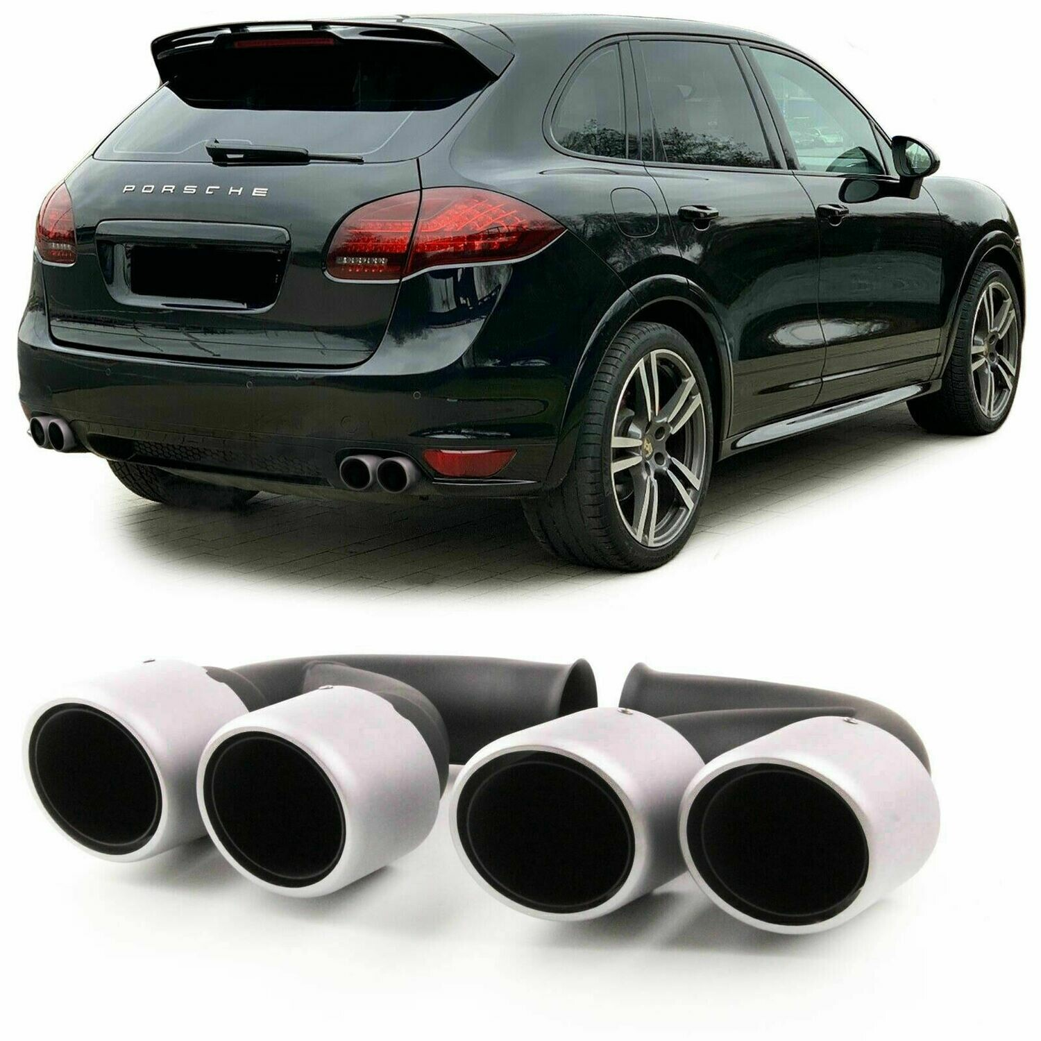Rear Exhaust Pipes for PORSCHE CAYENNE 92A V8 10-14 BLACK
