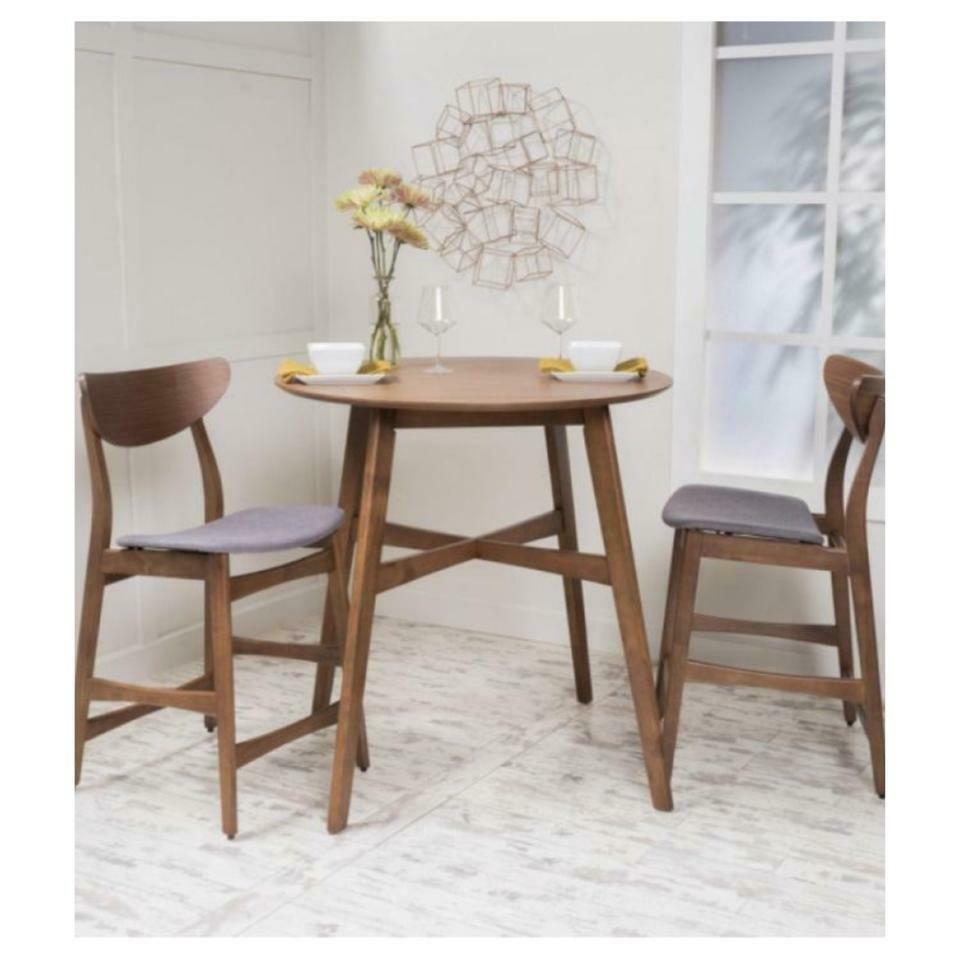 Helen Dark Fabric / Wood Counter Height Dining Set