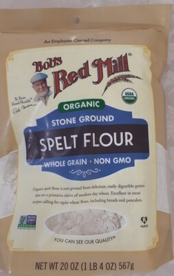 Bob's Red Mill:  Organic Stone Ground  SPELT FLOUR - Whole Grain