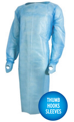 Protective Poly Gown with Thumb Hooks