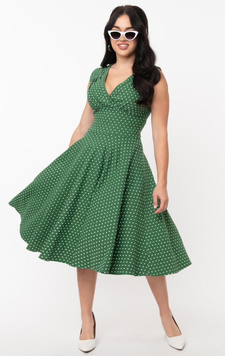 UV 1950s Pin Dot sleeveless delores swing dress