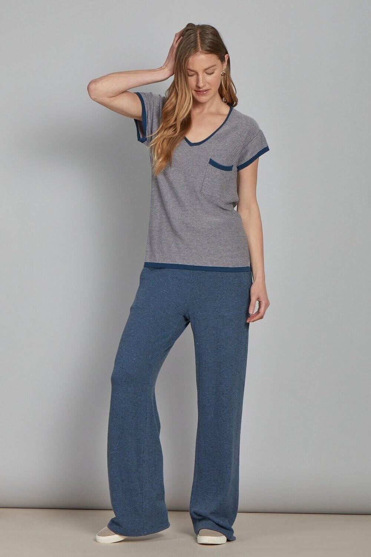 AL French blue short sleeve knit tee