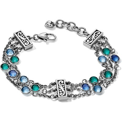 Brighton elora gems blues tri strand bracelet