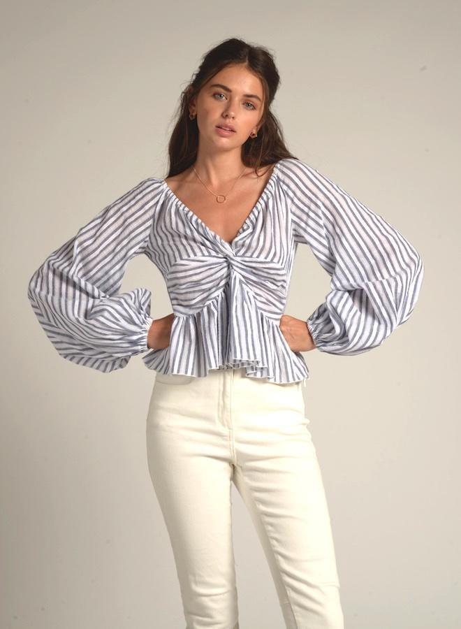 Cistar Striped Wide sleeve crop top