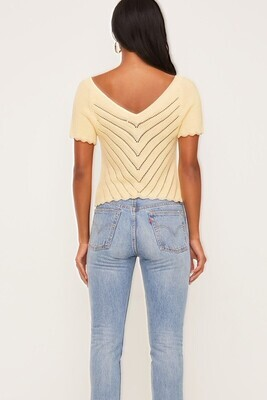 Lush Short sleeve cropped crochet top