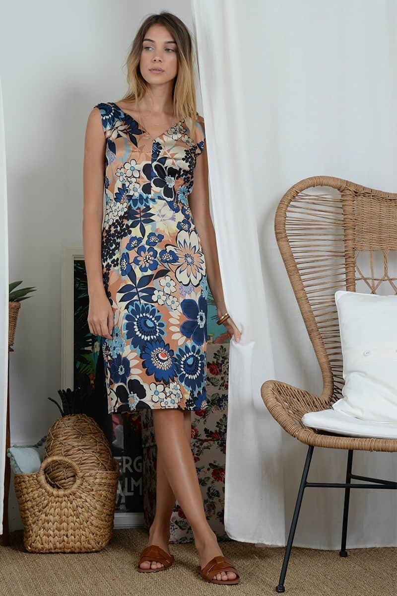 MB Satiny dress with front and back V neck