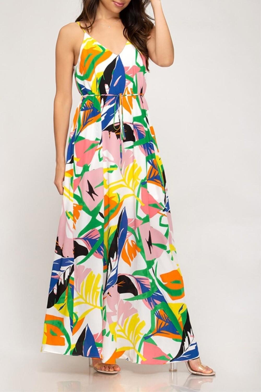 S&S Printed cami maxi dress