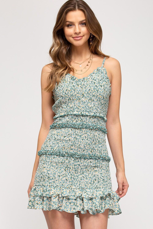 S&S Sleeveless floral smocked dress