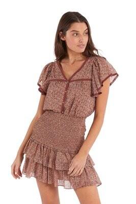 Allison Smocked Ruffle Mini skirt