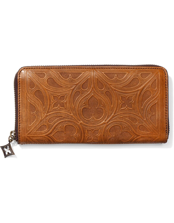 Brighton cognac zip wallet