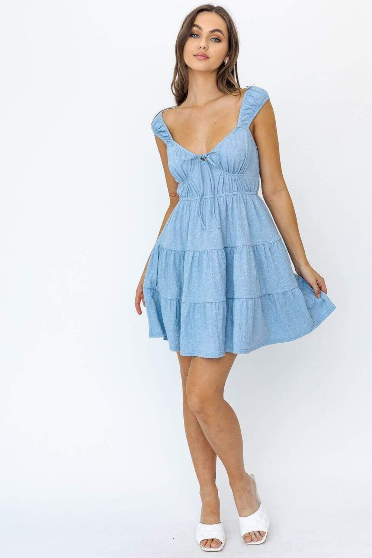 Le lis Cap Sleeve Tiered knit mini dress