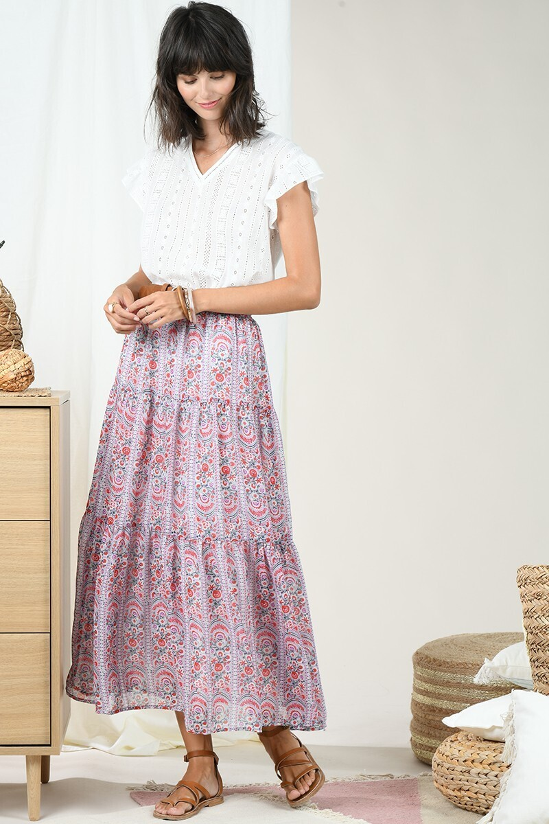 MB floral patterned maxi skirt