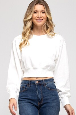 S&S Long Sleeve French Terry Knit crop sweater