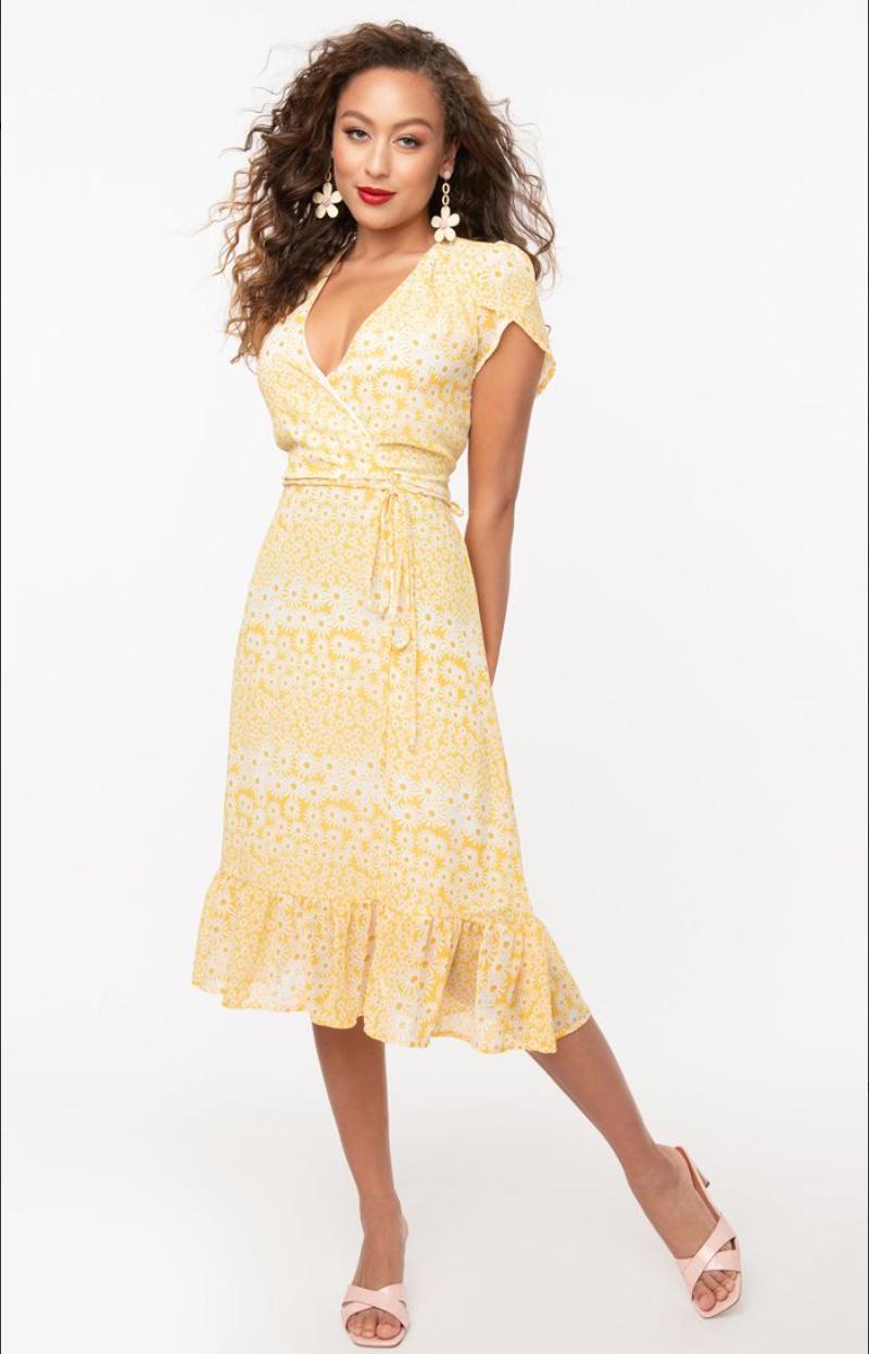 UV Dasiy Print Hide and go wrap dress