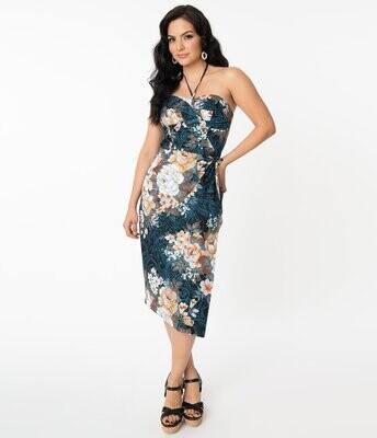 UV Floral Print halter Sarong Wiggle dress