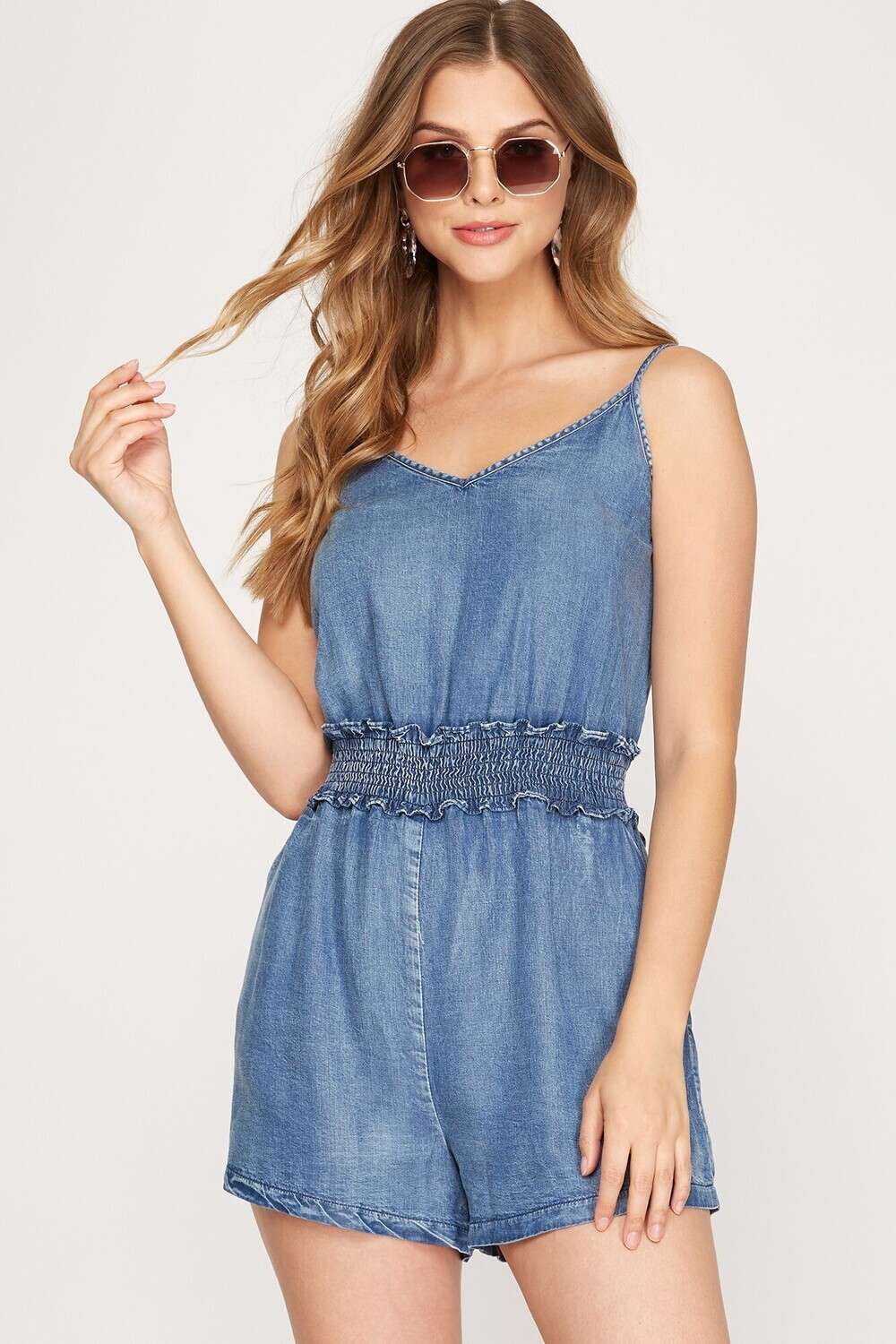 S&S Woven chambray smocked romper