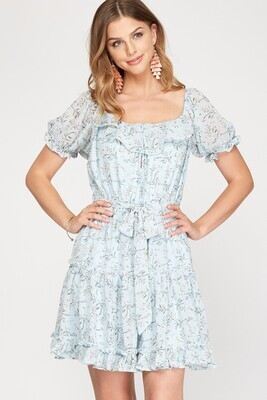 S&S Short sleeve floral dress tiered