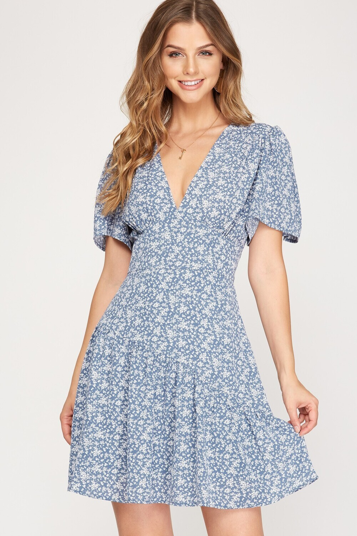 S&S Flutter Sleeve woven dress