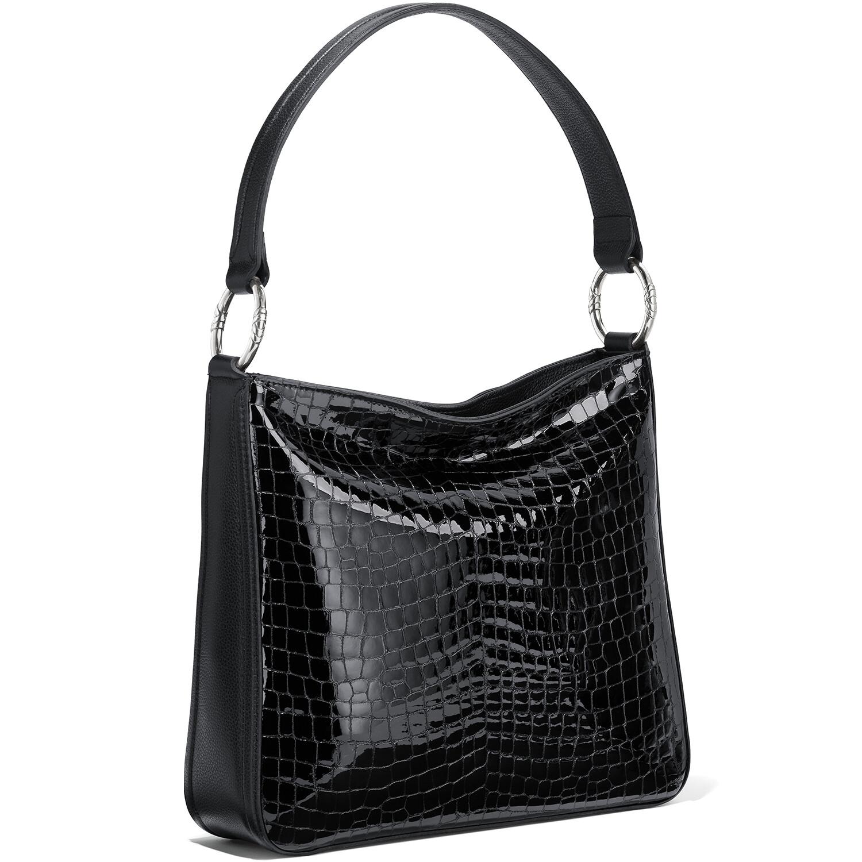 Brighton Black Croco Shoulder Bag