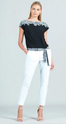 CSW Lace trim print cap slv blouse