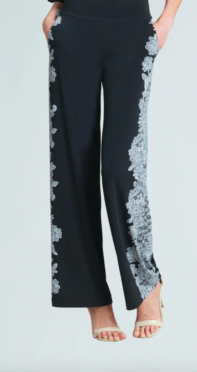 CSW Black&white lace trim silhouette pant