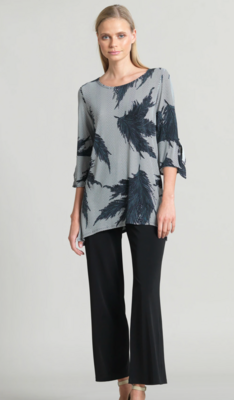CSW Feather print soft knit tunic w/side vents