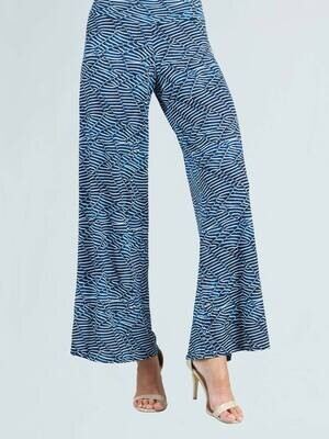 CSW Denim print textured soft knit palazzo