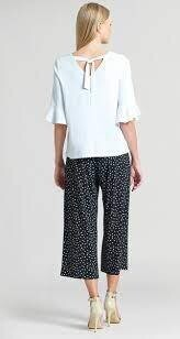 CSW back tie detail soft knit top w/tulip cuff