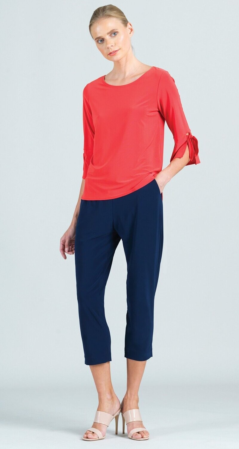 CSW tie cuff soft knit scoop top