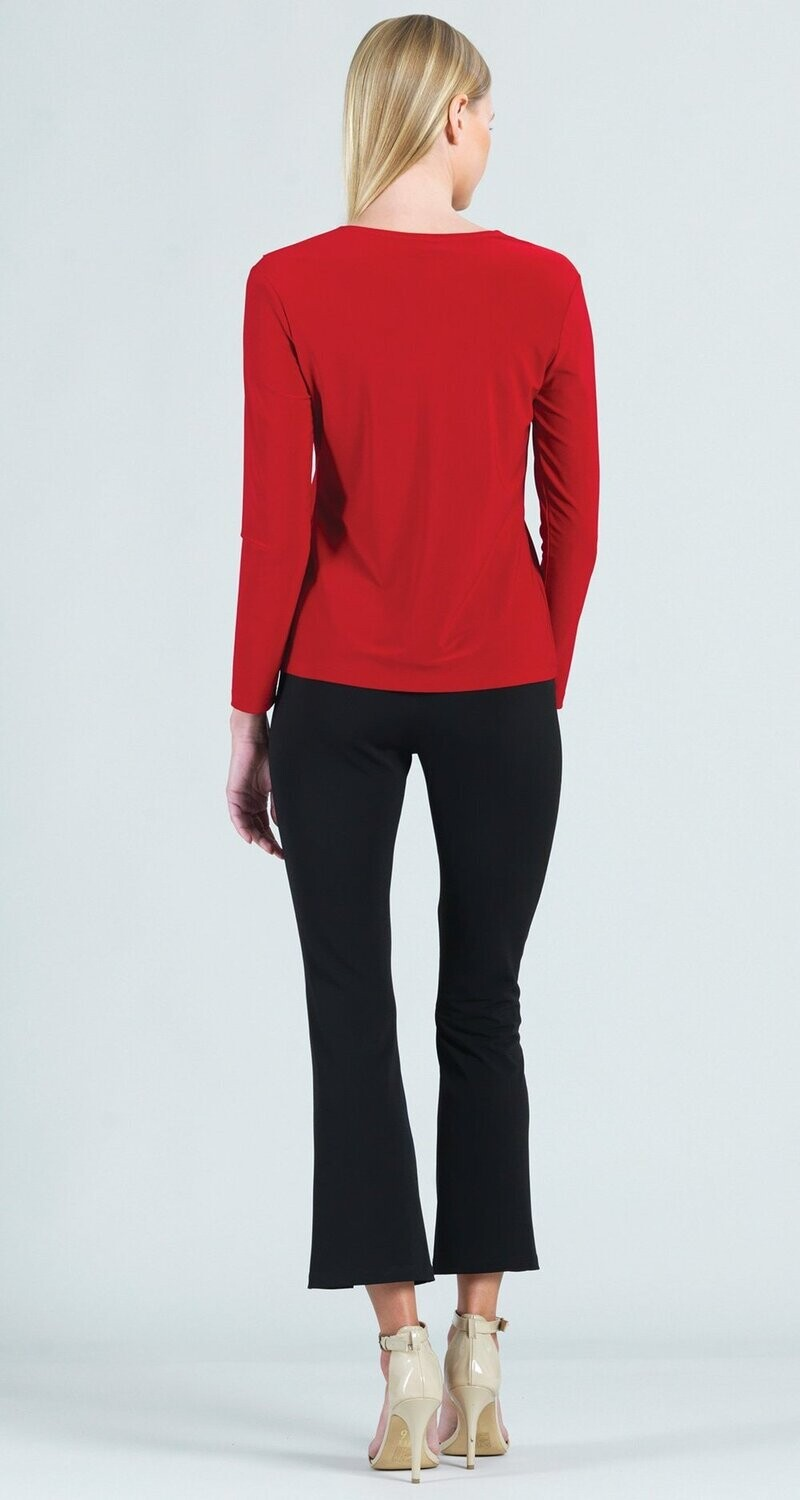 CSW Solid cascade drape v-neck knit top