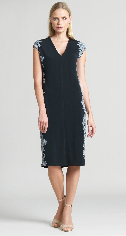CSW Black&white lace trim silhouette v-neck dress