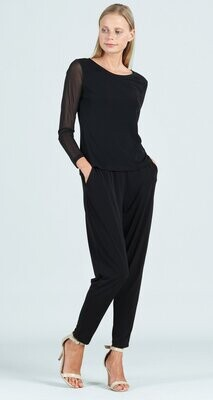 CSW Mesh sleeve soft knit top