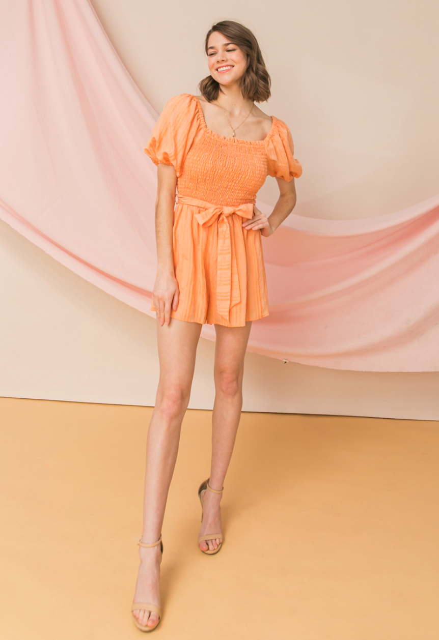 Flying tomato puff sleeve smocked front romper