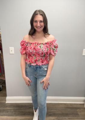 SundayUp Floral smocked blouse